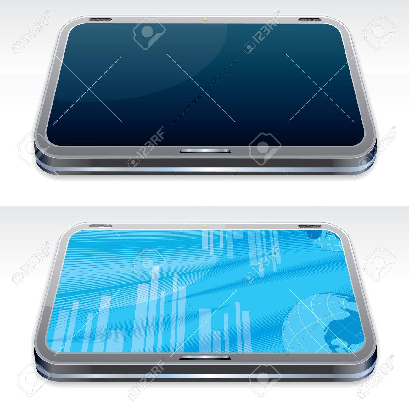 Generic Touchscreen Tablet PC, Power Turned on   off  3D Vector Illustration Stock Vector - 13510594