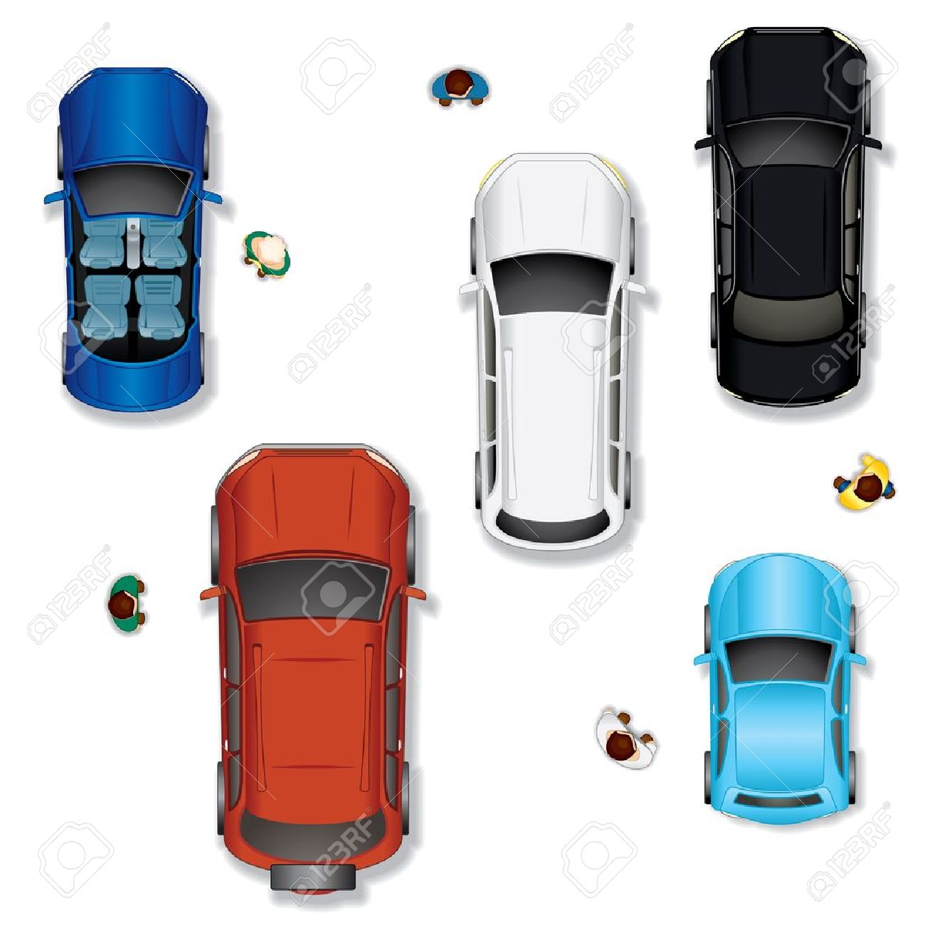 Set  2  Various Abstract Isolated Vector Cars, Top View Position Stock Vector - 13510485