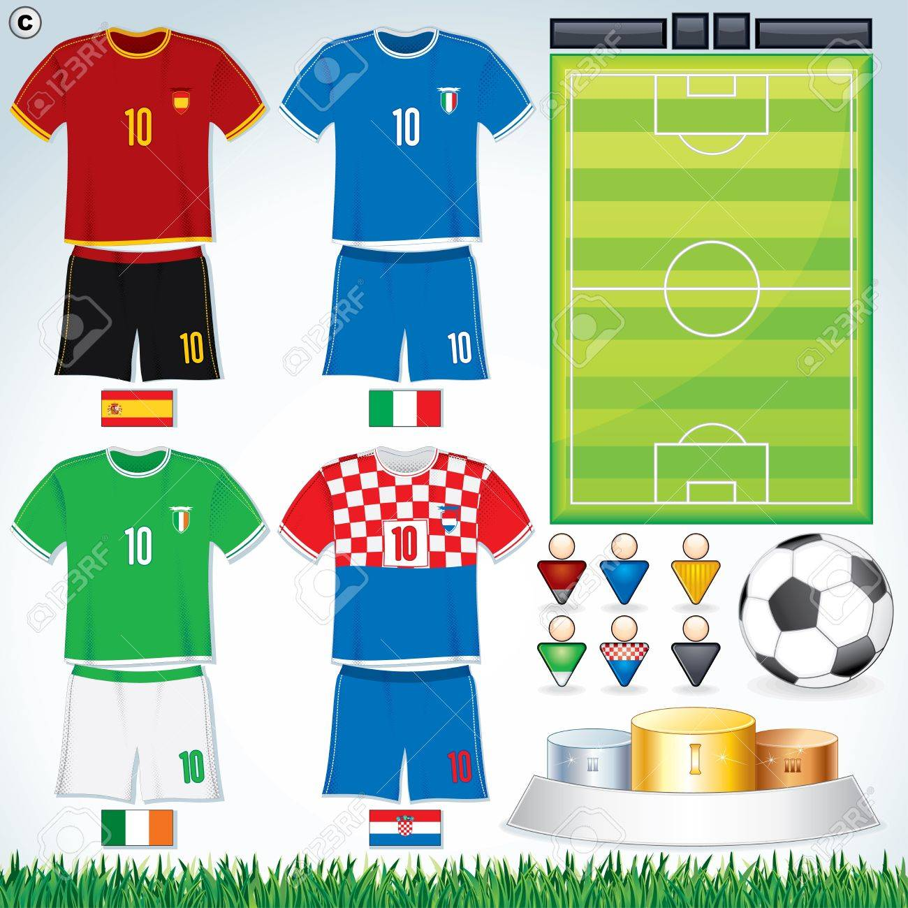 Soccer Vector Collection. Euro 2012 Group C. Abstract National Football Uniform with Variety Objects. Stock Vector - 13720124