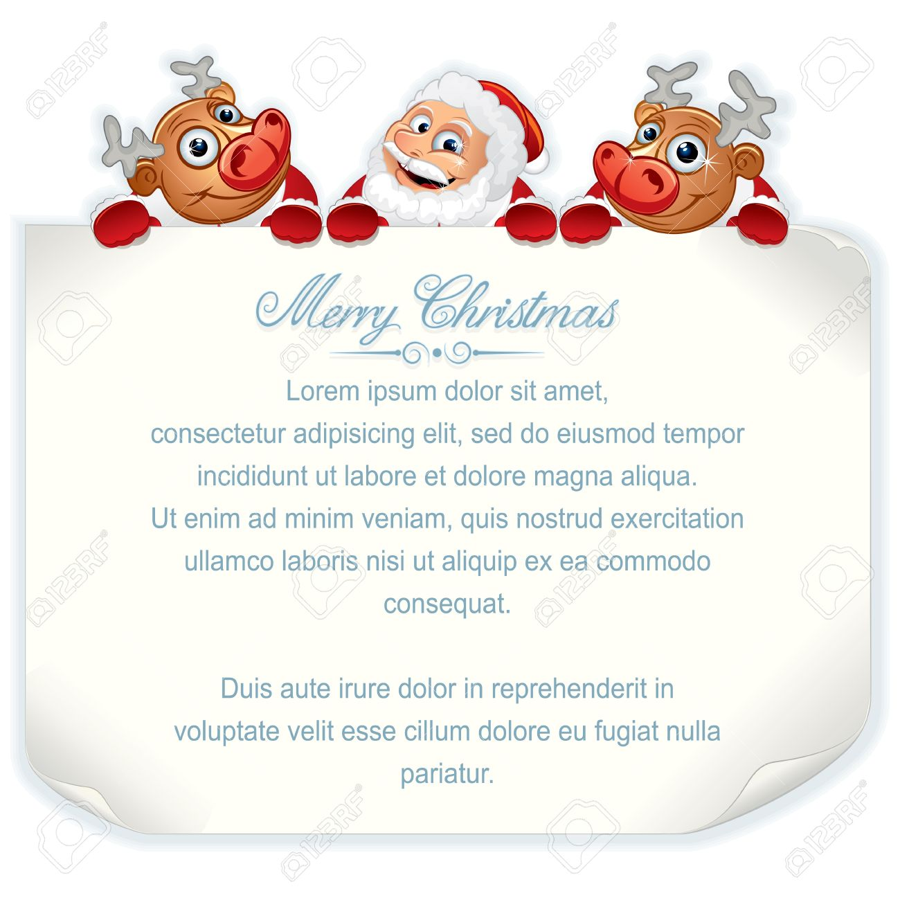 Santa Claus and Rudolph Holding Sign  Vector Background with Space for Your Text Stock Vector - 15061193