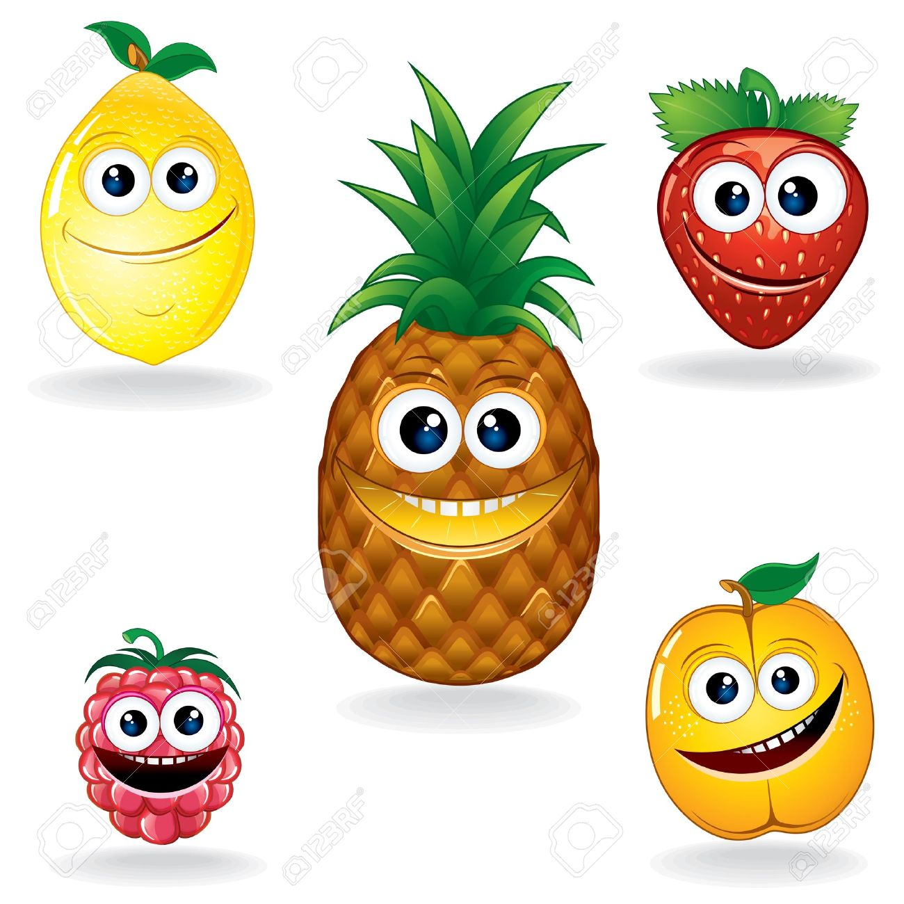 set of funny vector fruits cartoon serie royalty free cliparts