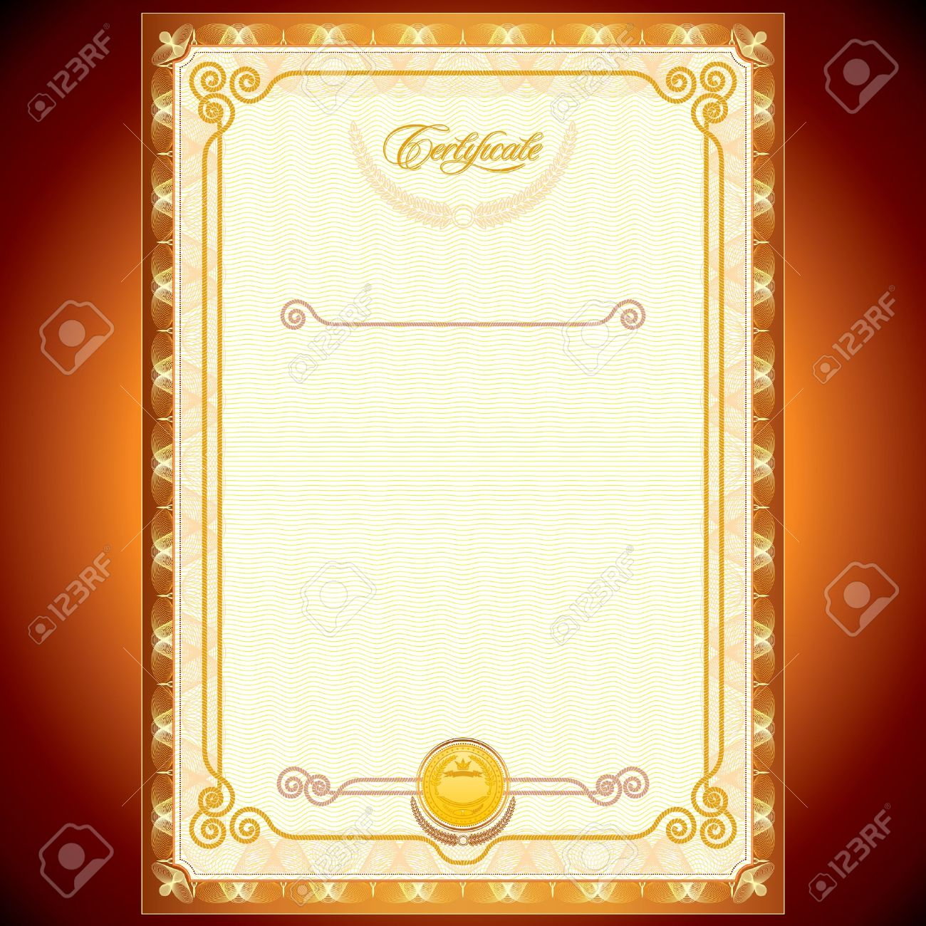 Blank Golden Certificate Template Or Your Design Royalty Free ...