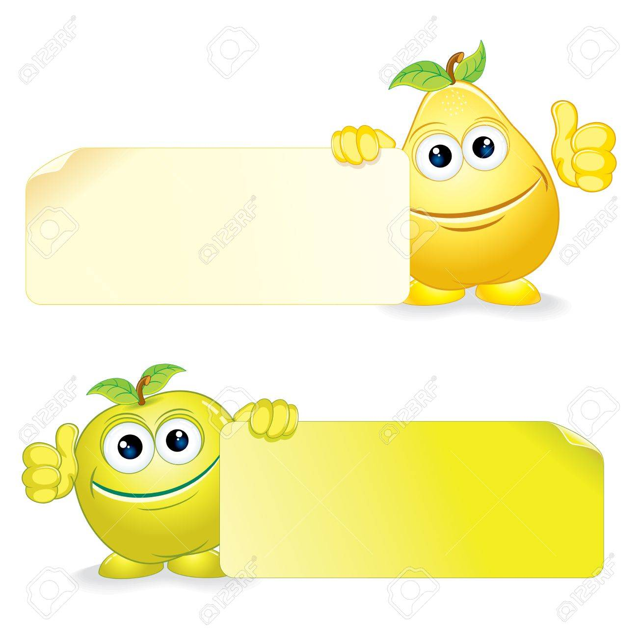 Happy Apple and Pear  Cartoon Fruits with Blank Banner  Vector Clip Art Stock Vector - 15061232