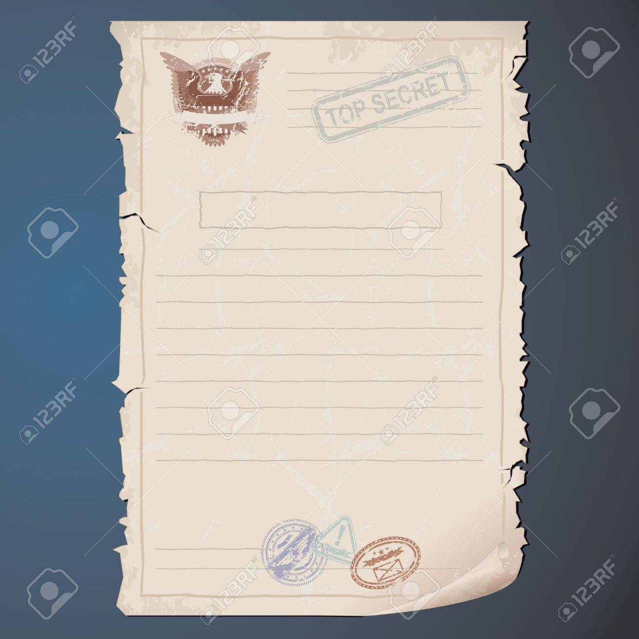 Blank Top Secret Document Vector Template For Your Text And ...