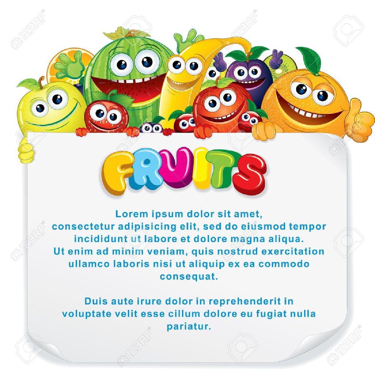 Cartoon Fruits. Funny Banana, Apple, Orange, Strawberry and other are holding a Blank Sign. Vector Illustration Stock Vector - 15061180