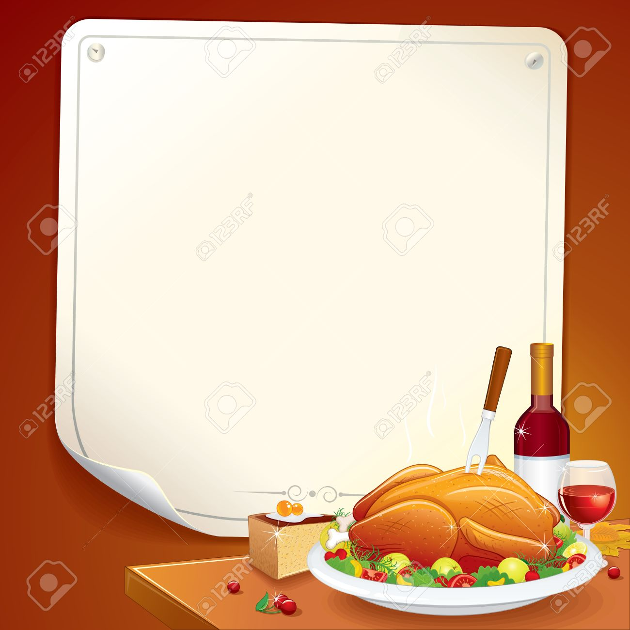 Thanksgiving Background with Roasted Turkey, Pie and Wine Stock Vector - 16446687