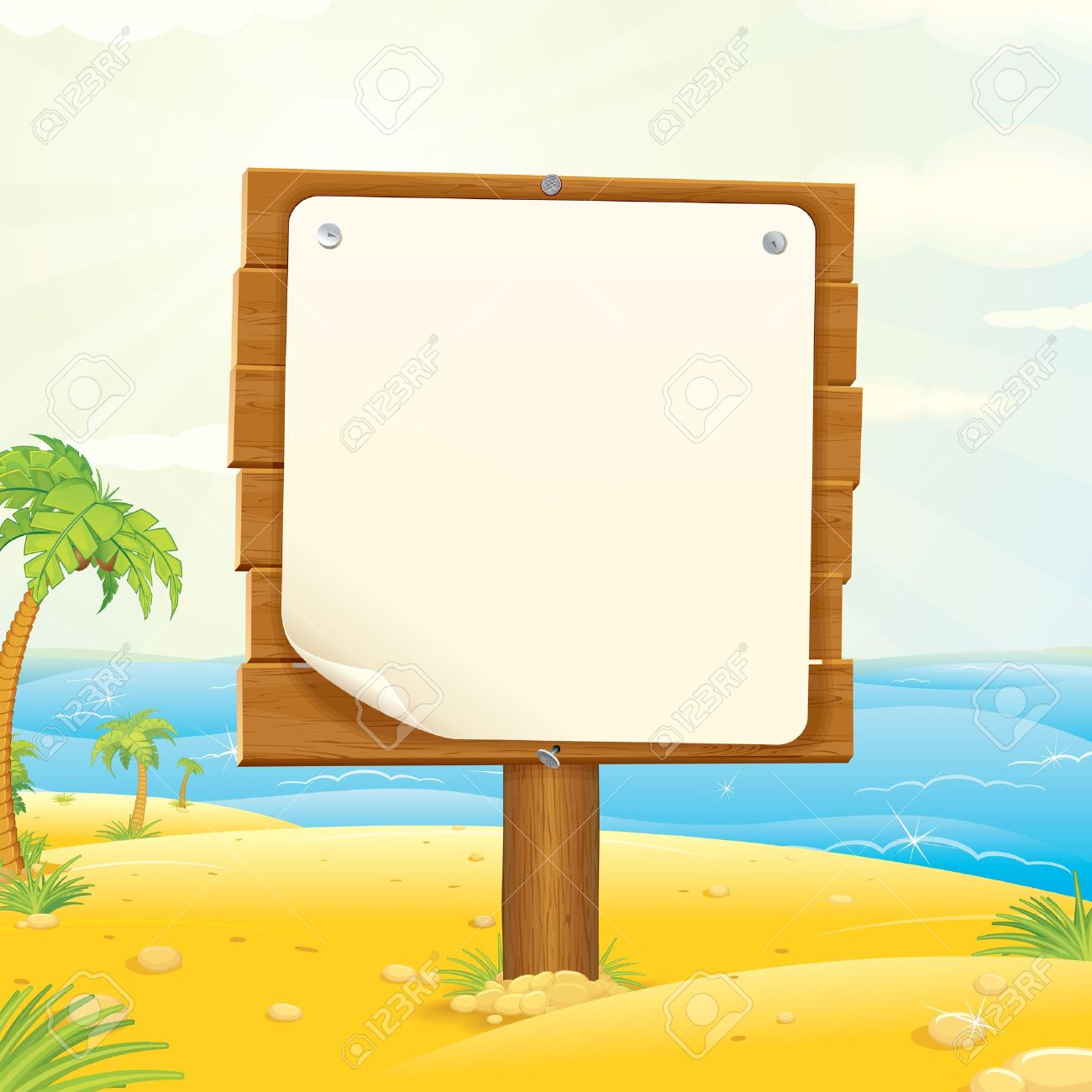 Blank Wooden Sign Board Wooden Sign With Blank Paper