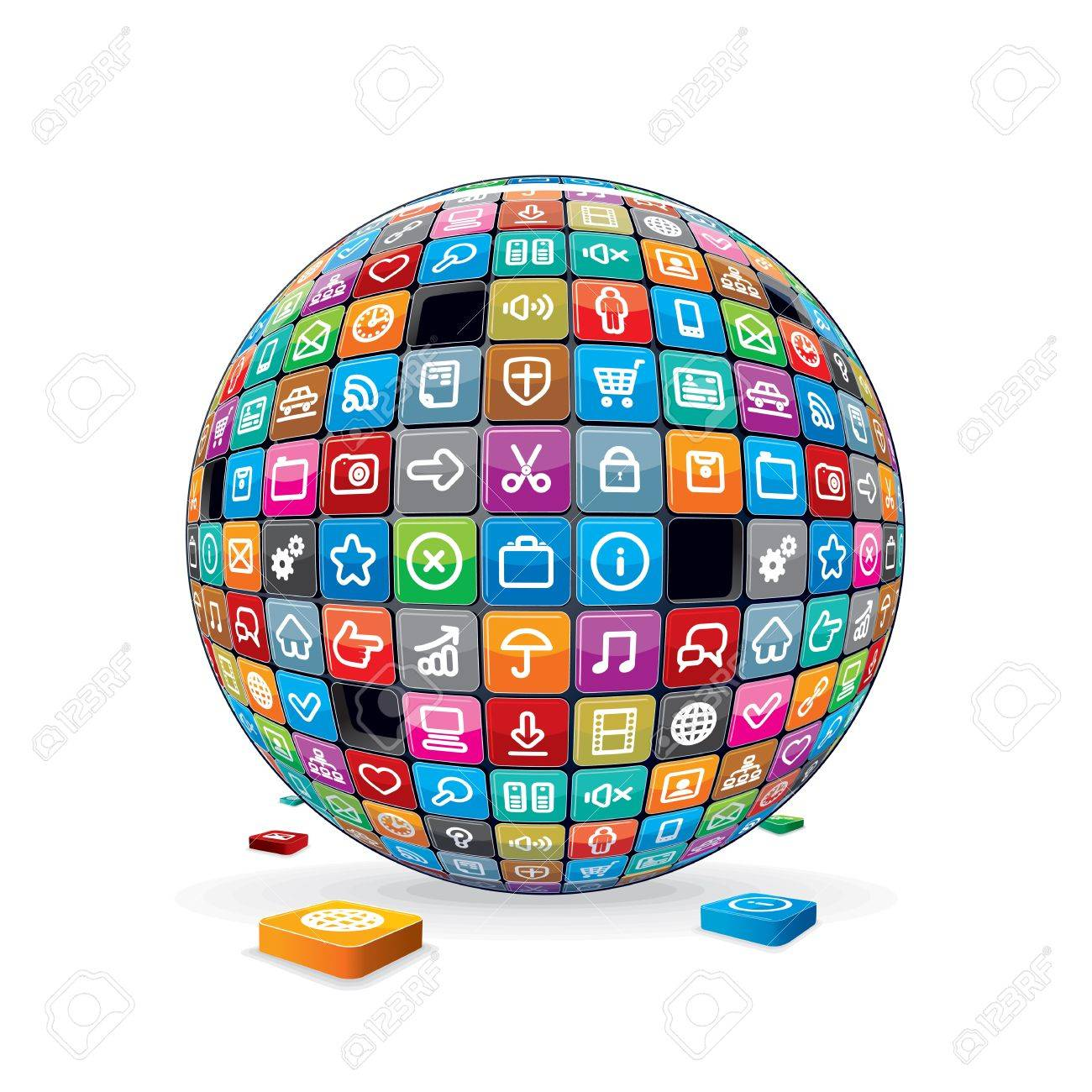 Abstract Sphere with Application Icons  Vector Stock Vector - 18002185
