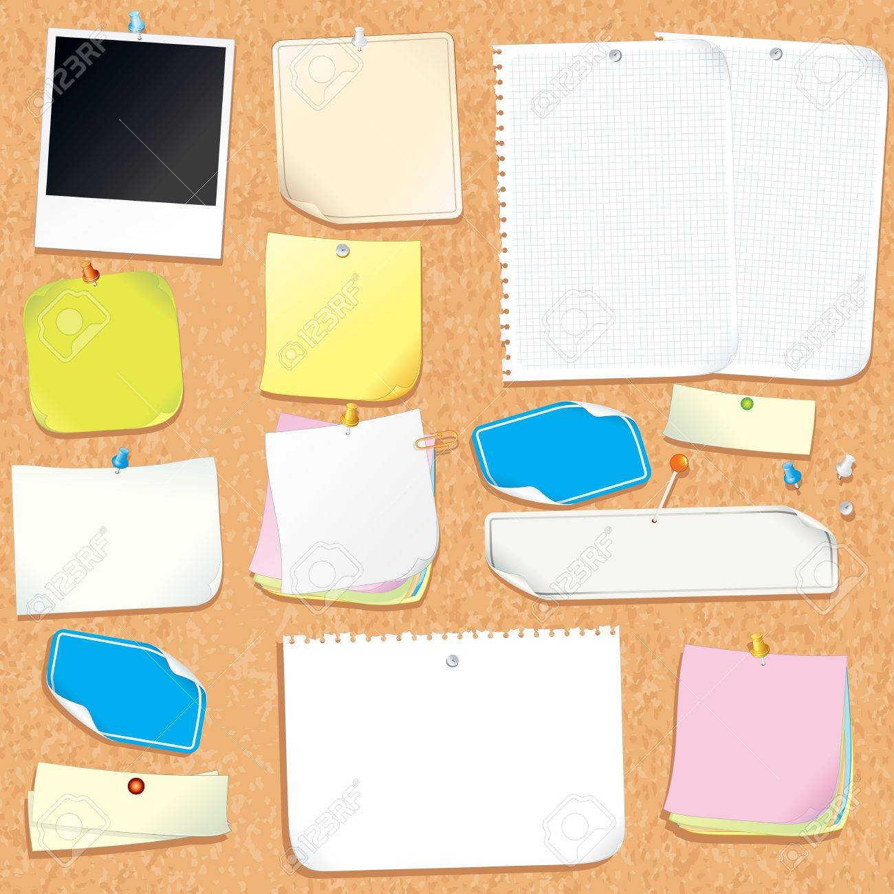 Office Cork Board With Blank Notes and Stickers Stock Photo - 18002235