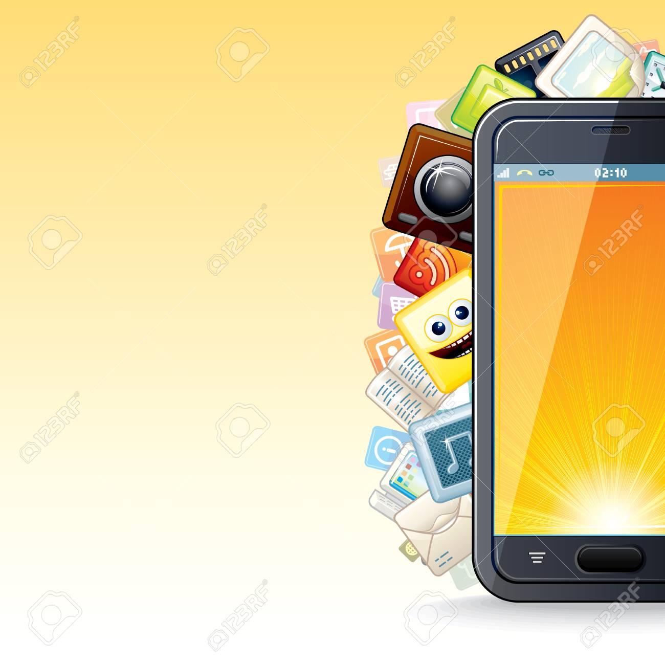 Smart Phone Apps Poster  Illustration Stock Photo - 18847811