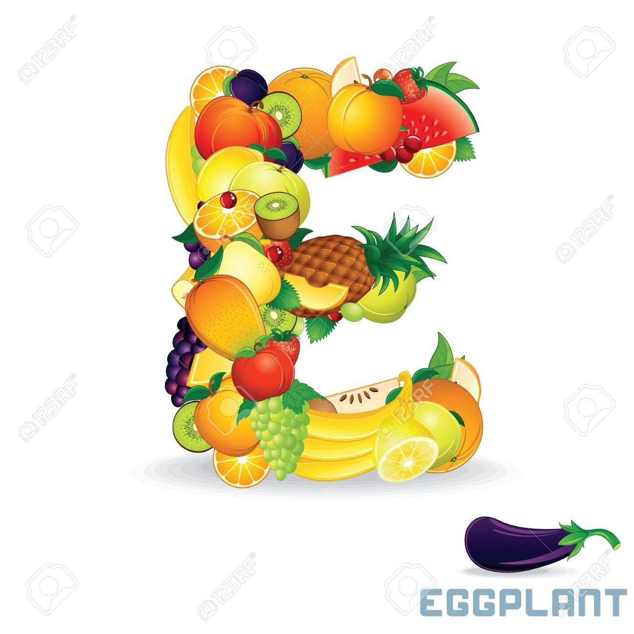 Vector Alphabet From Fruit Letter E Royalty Free Cliparts, Vectors