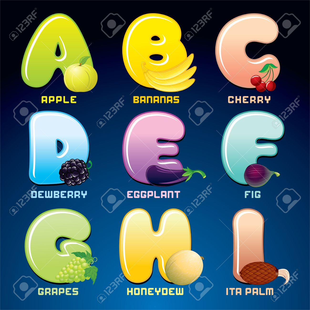 fruits and berries in alphabetical order stock photo picture and fruits and berries in alphabetical order stock photo 19574353