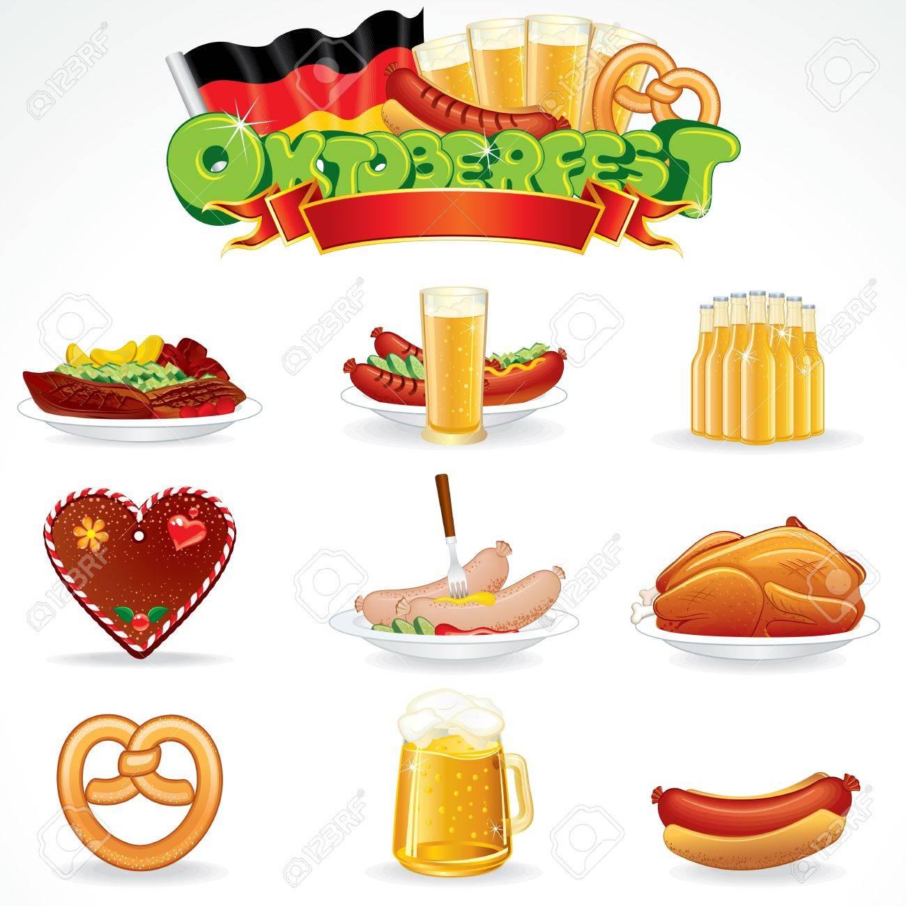 オクトーバーフェストの食品と飲み物アイコン クリップアートします の