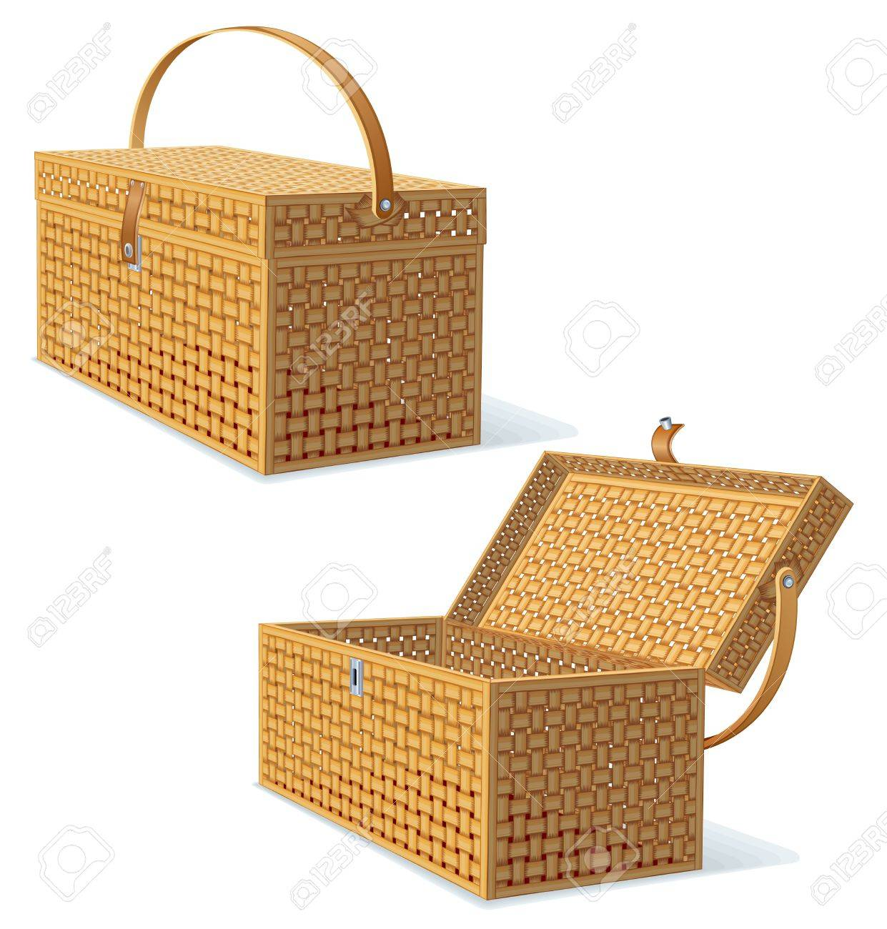 Picnic Hamper with Lid  Detailed Illustration Stock Photo - 20043230