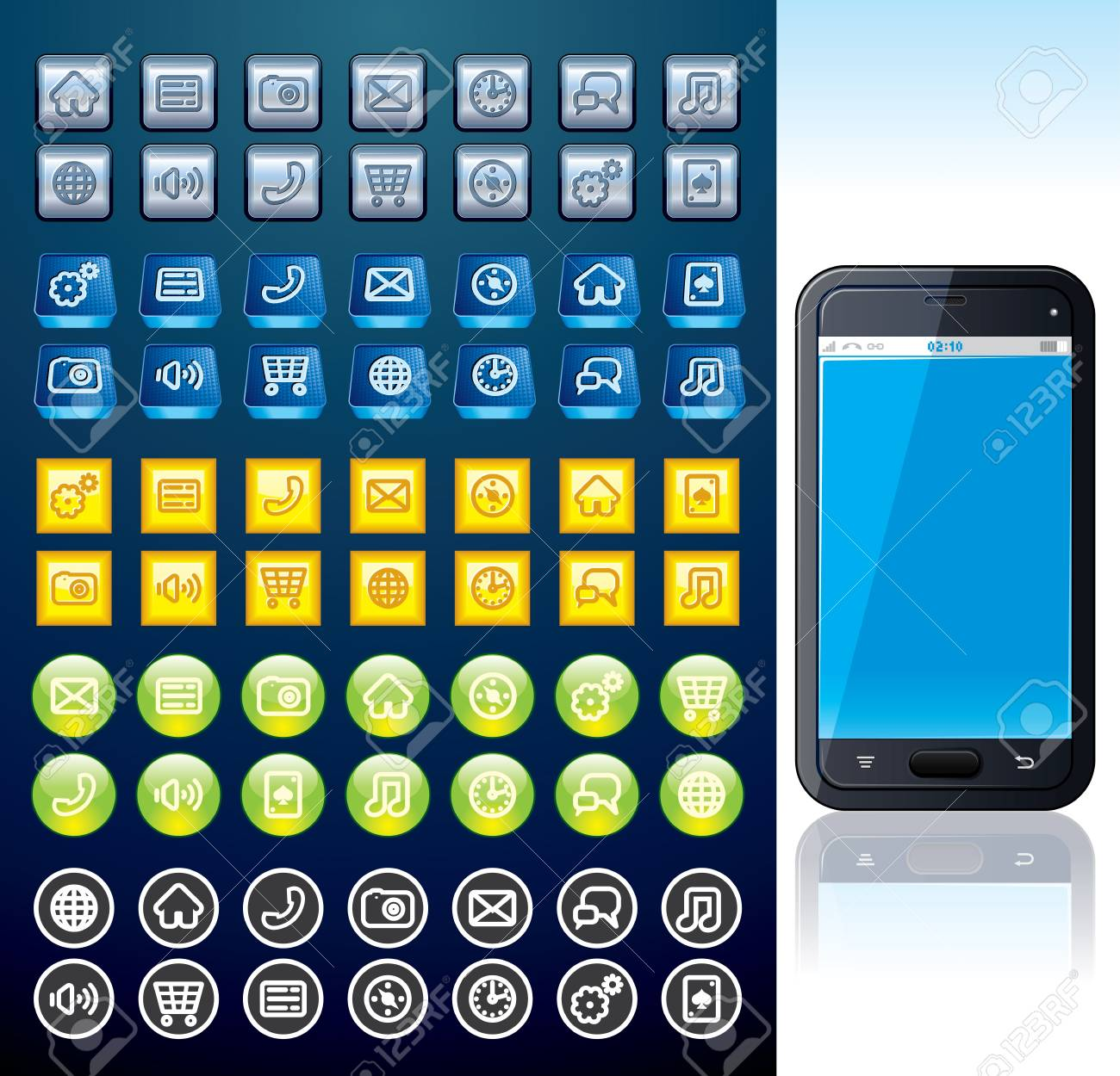 Smartphone with Set of Various Interface Buttons Stock Photo - 20043452