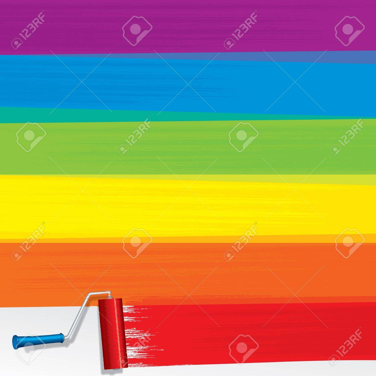 Rainbow Paint Roller Painting A White Wall Stock Photo, Picture And ...