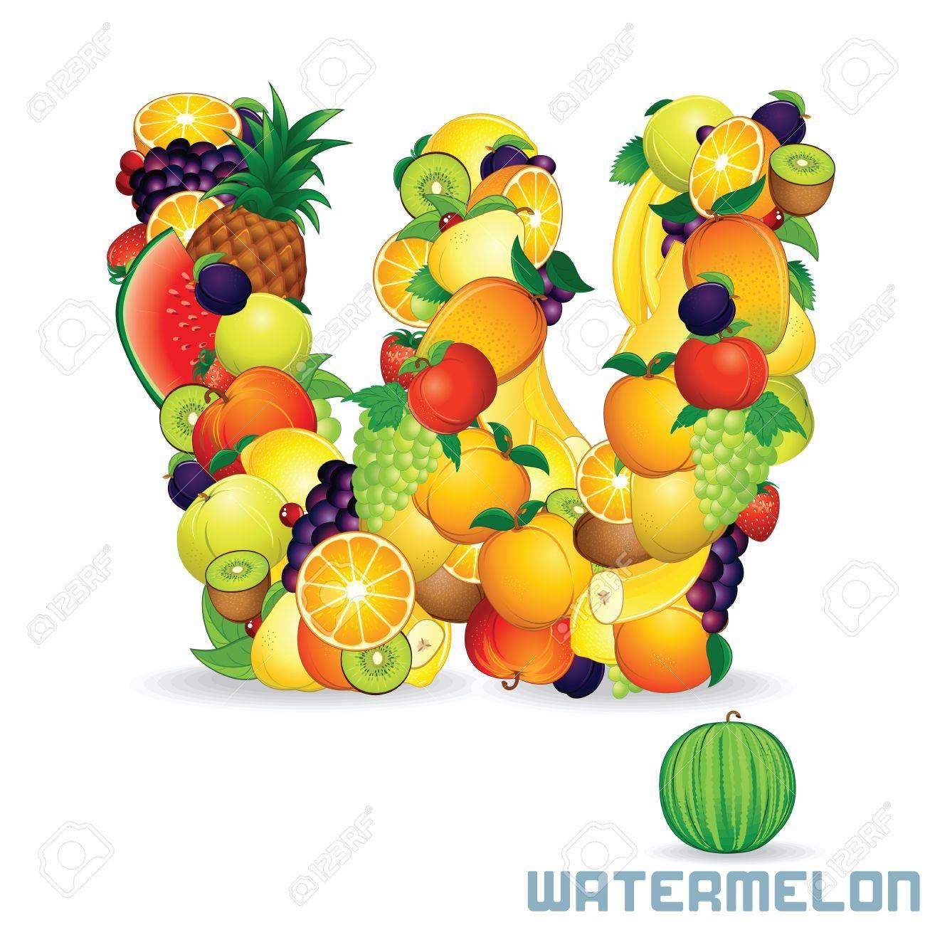 Alphabet From Fruit  Letter W Stock Photo - 20043544