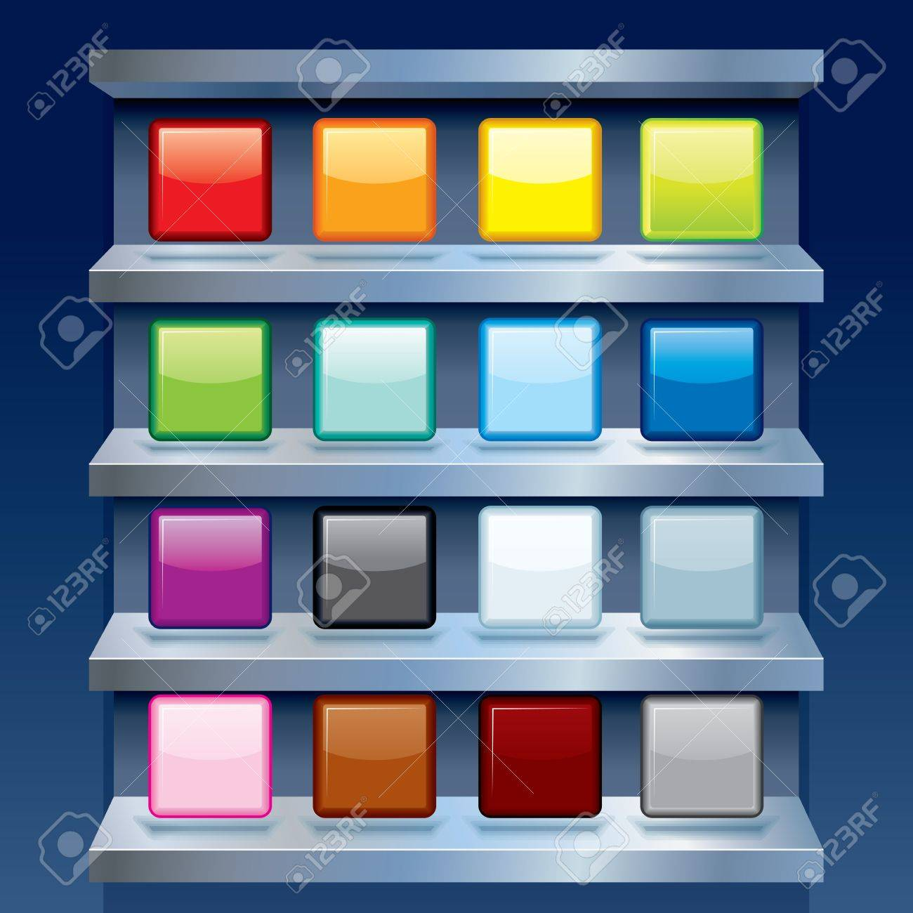 Clean Colorful Apps Icons on Metal Shelf. Stock Vector - 21067729