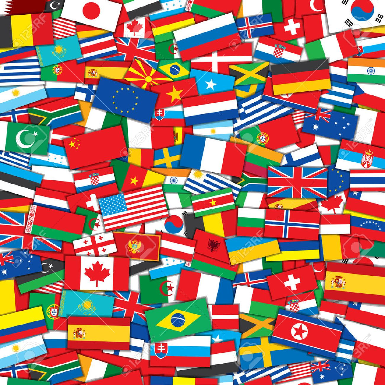 Background From Various World Flags Eps10 Vector Design Template