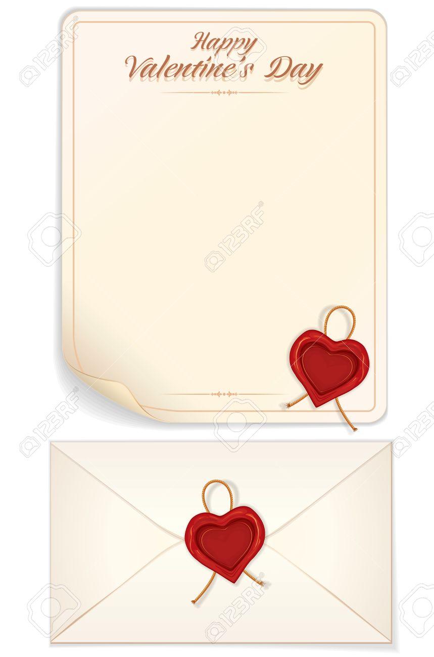 Saint Valentin Modele De Lettre D Amour Avec Le Coeur En Forme De Phoque Vecteur Eps10 Conception Pret Pour Votre Texte Conception Et Impression Clip Art Libres De Droits Vecteurs Et Illustration