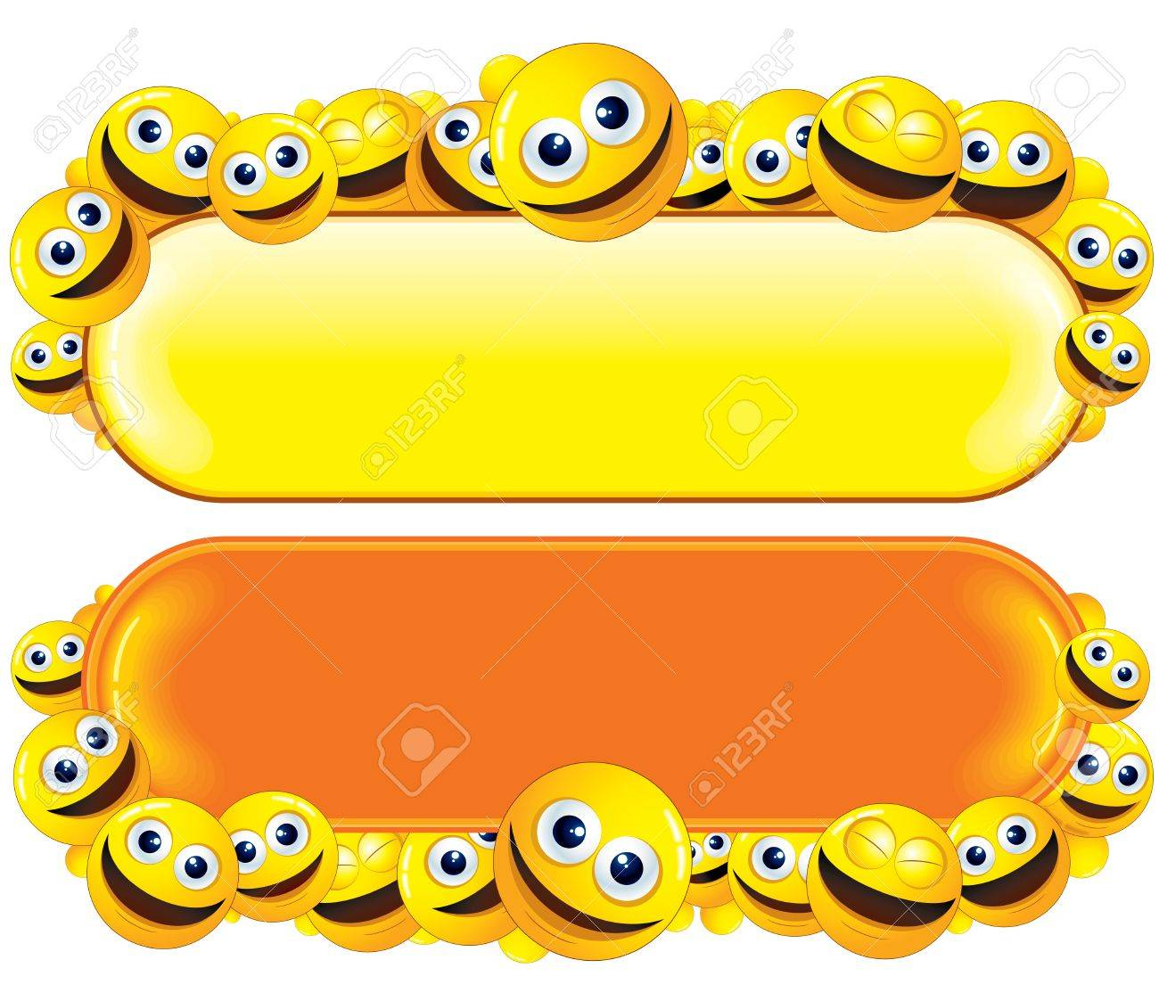 Funny Banner with Smiley Faces Stock Photo - 22956350