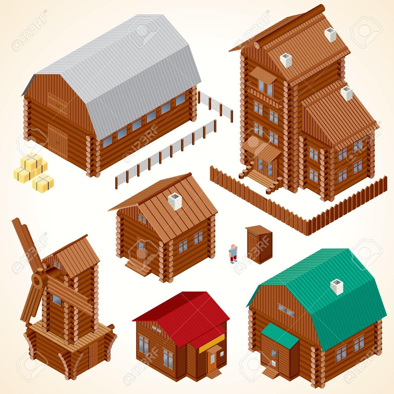 Casas De Madera Isometricos Casa Rural Cabana De Madera Molino De