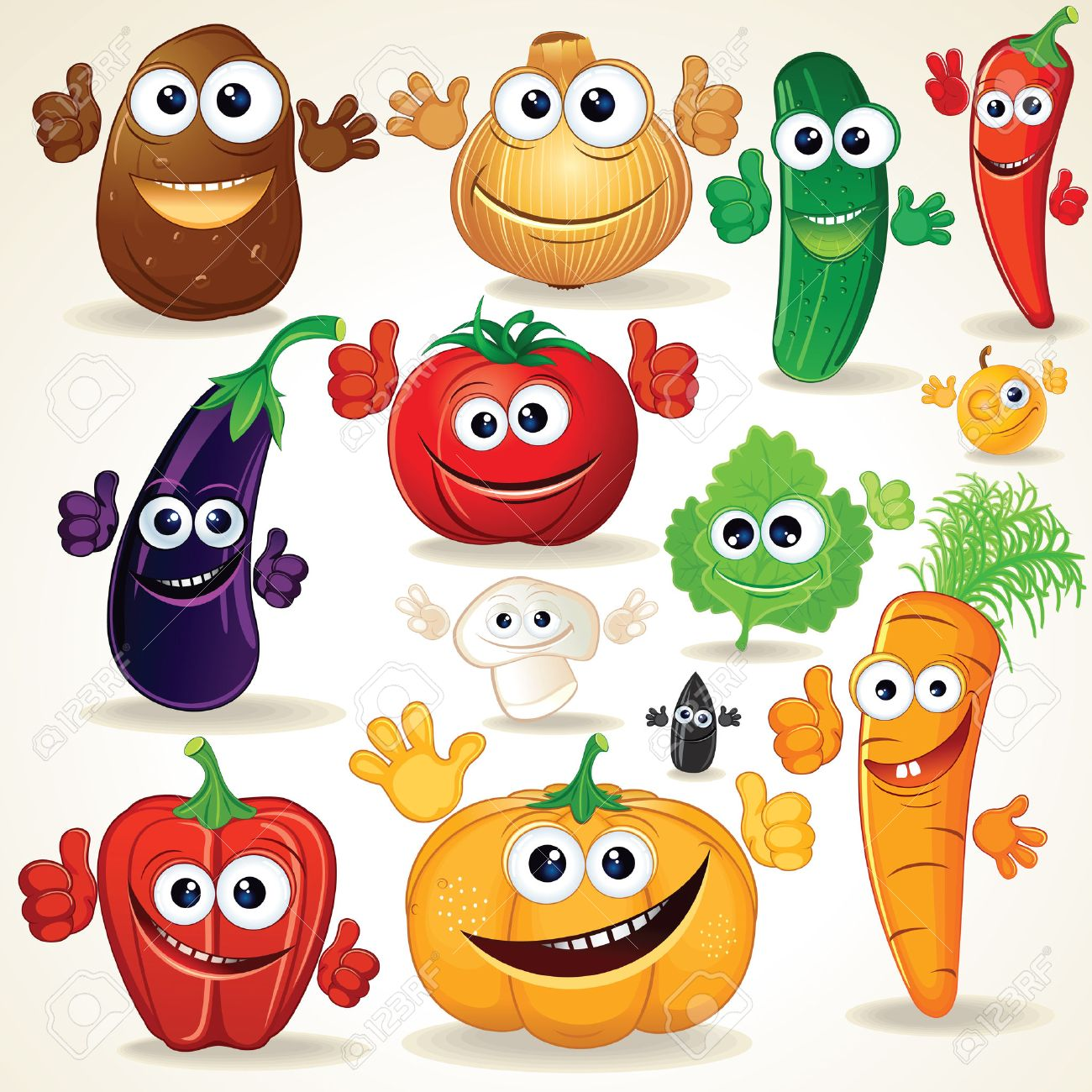 funny various cartoon vegetables clip art stock photo picture