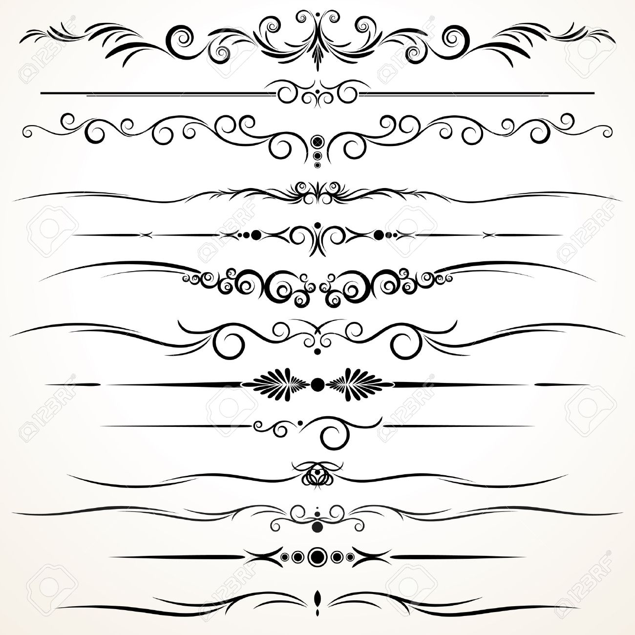 Collection Of Ornamental Rule Lines In Different Design Styles Stock Photo    22958617