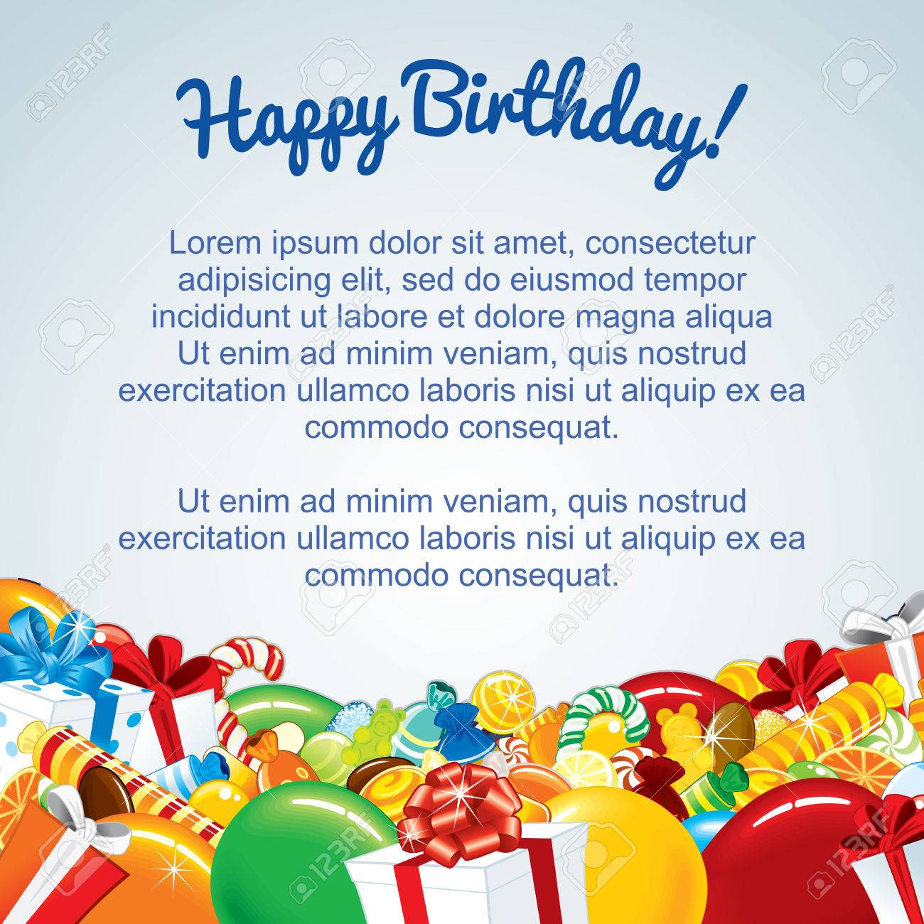 Bunte Geburtstag-Karten-Schablone. Vector Illustration Für Ihren ...