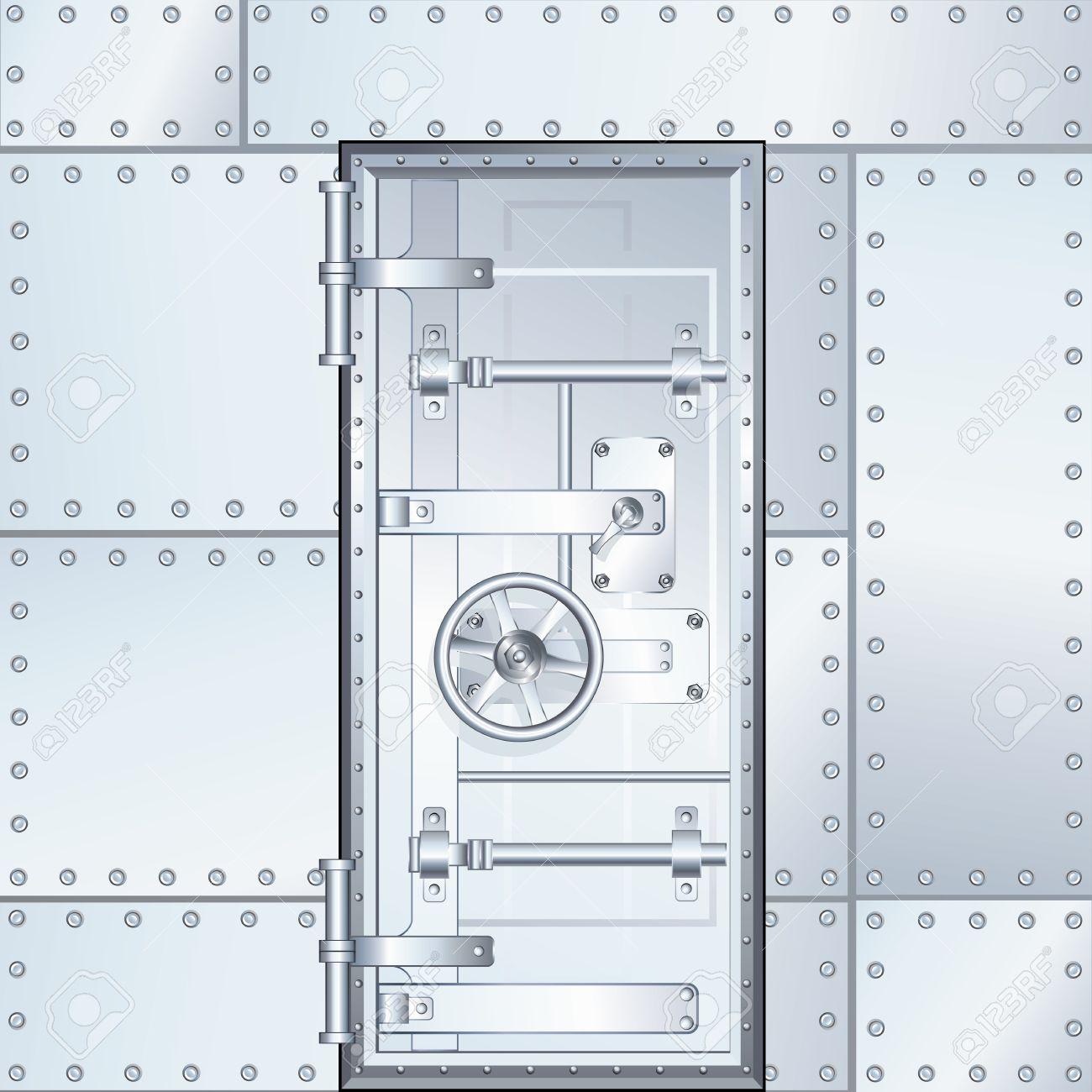 Closed Door Drawing closed bank vault door. vector design illustration royalty free
