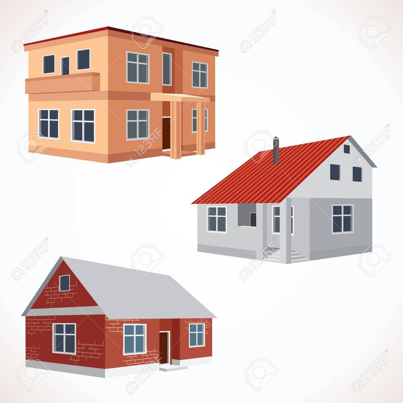 Banque dimages jeu de 3d icônes maison bâtiments set prêt pour votre texte et design