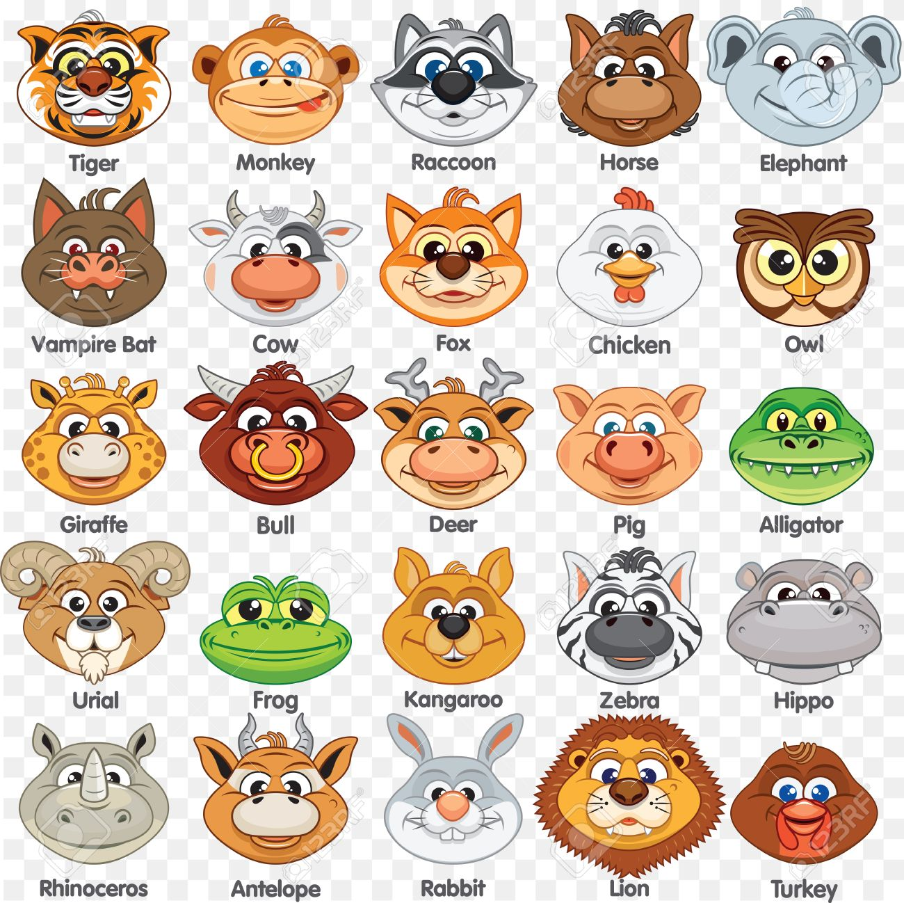Printable Animal Masks Template  Cutout Paper Mask of Cute Animals