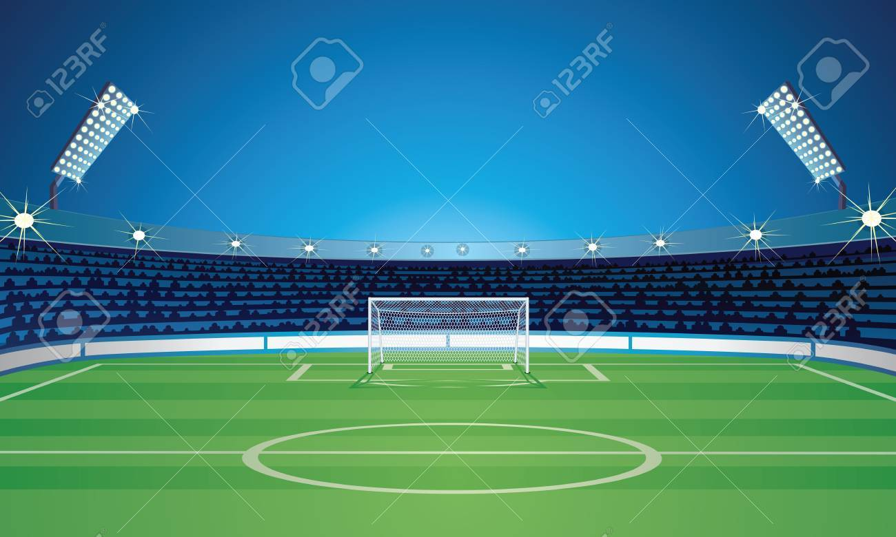 Empty Backdrop Template With Soccer Field Stadium Royalty Free ...