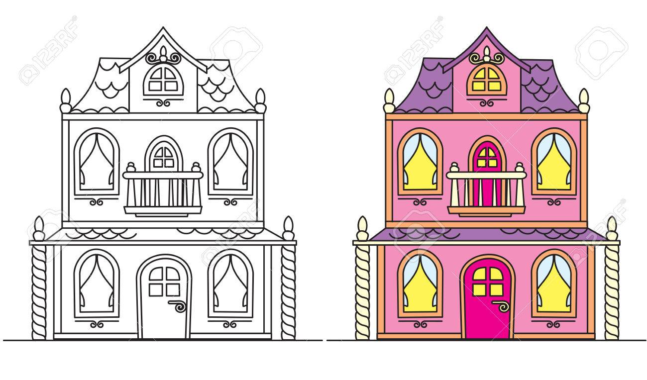 Coloring pages for kids pretty pink dolls house stock vector 85806470