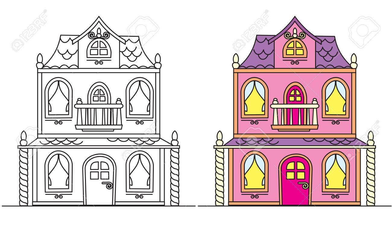 Dibujos Para Colorear Para Niños. Casa De Muñecas Bastante Rosa ...