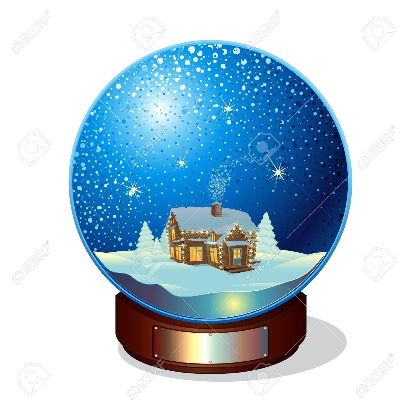 Joyeux Noël Verre Boule De Neige Clip Art Libres De Droits
