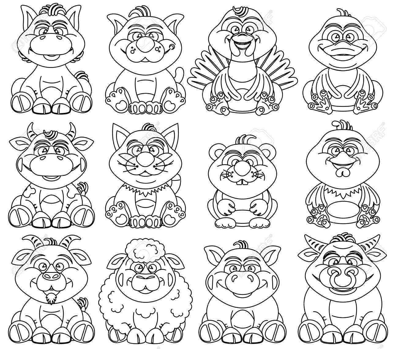 Coloring Pages For Children. Contour Farm Animals For Kids Royalty ...