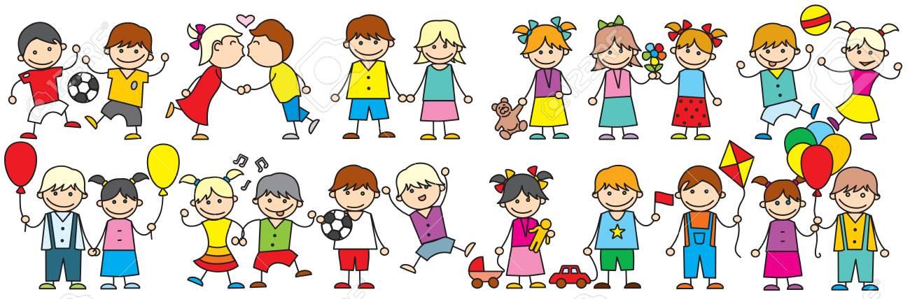 Bande Dessinee Heureux Enfants Clipart Vectoriel Doodle Clip Art Libres De Droits Vecteurs Et Illustration Image 88191877