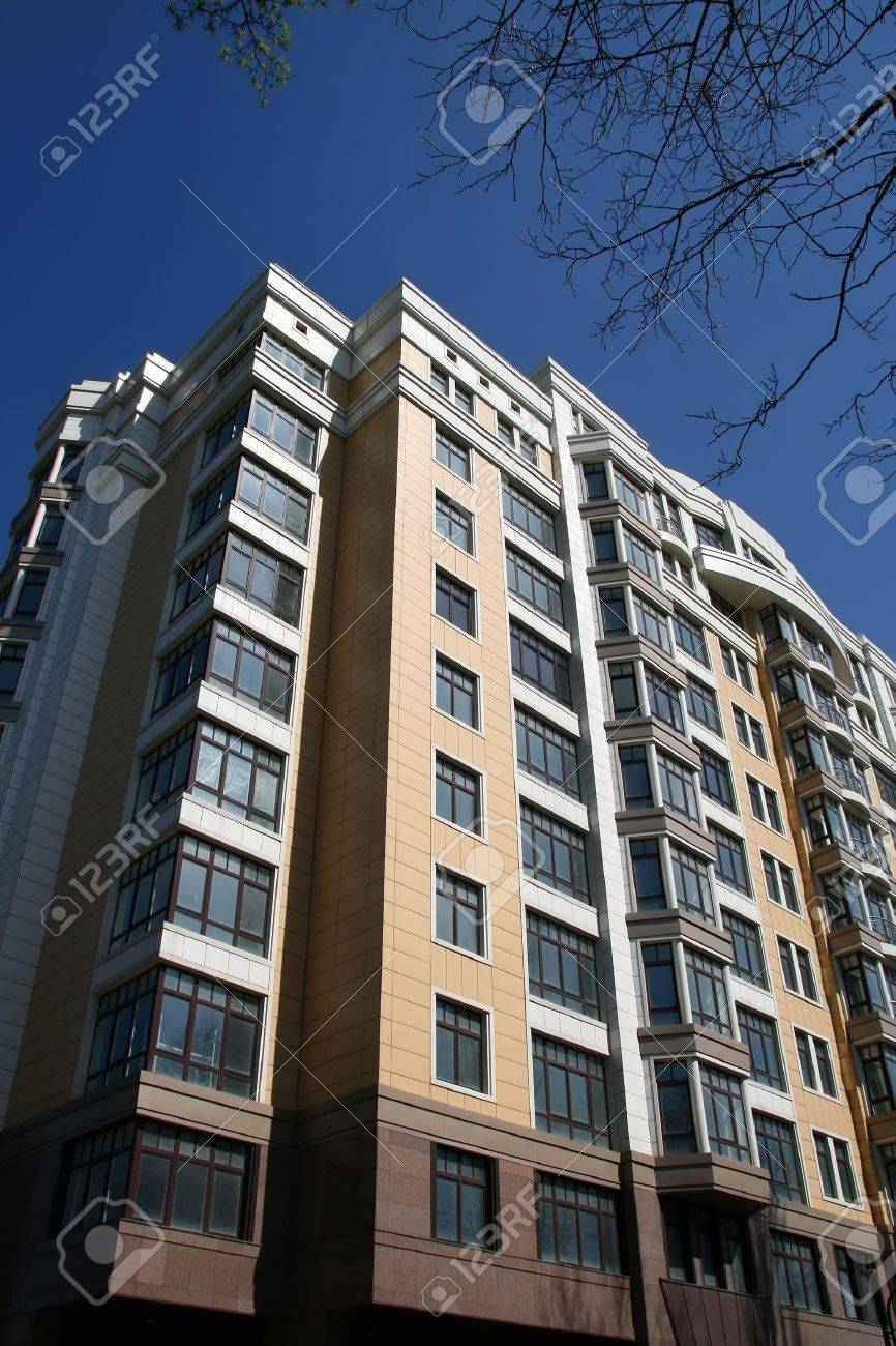 New Modern Apartment Buildings In Kiev On Blue Clear Sky Stock ...