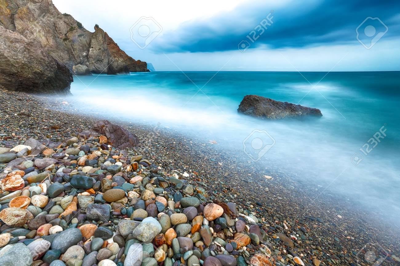 long exposure of sea and rocks. Beautiful seascape - 107166072
