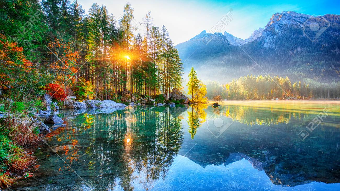 Fantastic autumn sunrise of Hintersee lake. Beautiful scene of trees near turquoise water of Hintersee lake. Location: resort Ramsau, National park Berchtesgadener Land, Upper Bavaria, Germany Alps, Europe - 109619244