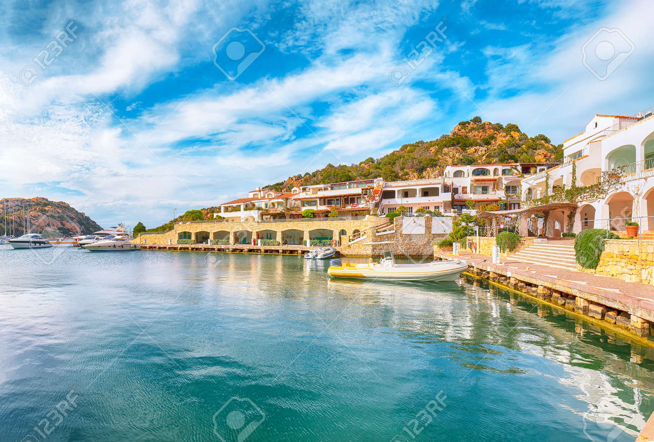 Awesome view of Poltu Quatu port and bay with yachts and motorboats on Costa Smeralda. Popular travel destination of Mediterranean sea. Location: Poltu Quatu, Province of Sassari, Sardinia, Italy, Europe - 170378880