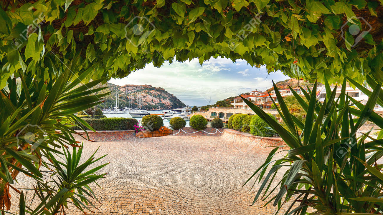 Astonishing view of Poltu Quatu port and bay with yachts and motorboats on Costa Smeralda. Popular travel destination of Mediterranean sea. Location: Poltu Quatu, Province of Sassari, Sardinia, Italy, Europe - 170378888