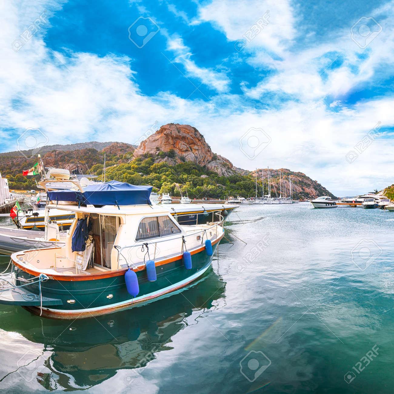 Splendid view of Poltu Quatu port and bay with luxury yachts on Costa Smeralda. Popular travel destination of Mediterranean sea. Location: Poltu Quatu, Province of Sassari, Sardinia, Italy, Europe - 170378893