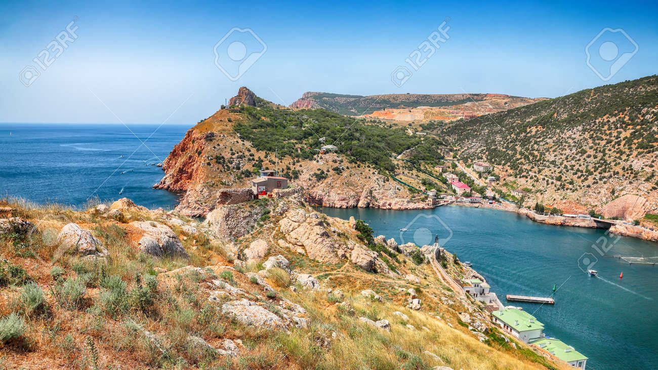 Stunning view of Balaklava bay with yachts from the Genoese fortress Chembalo in Sevastopol city. Crimea - 170378844
