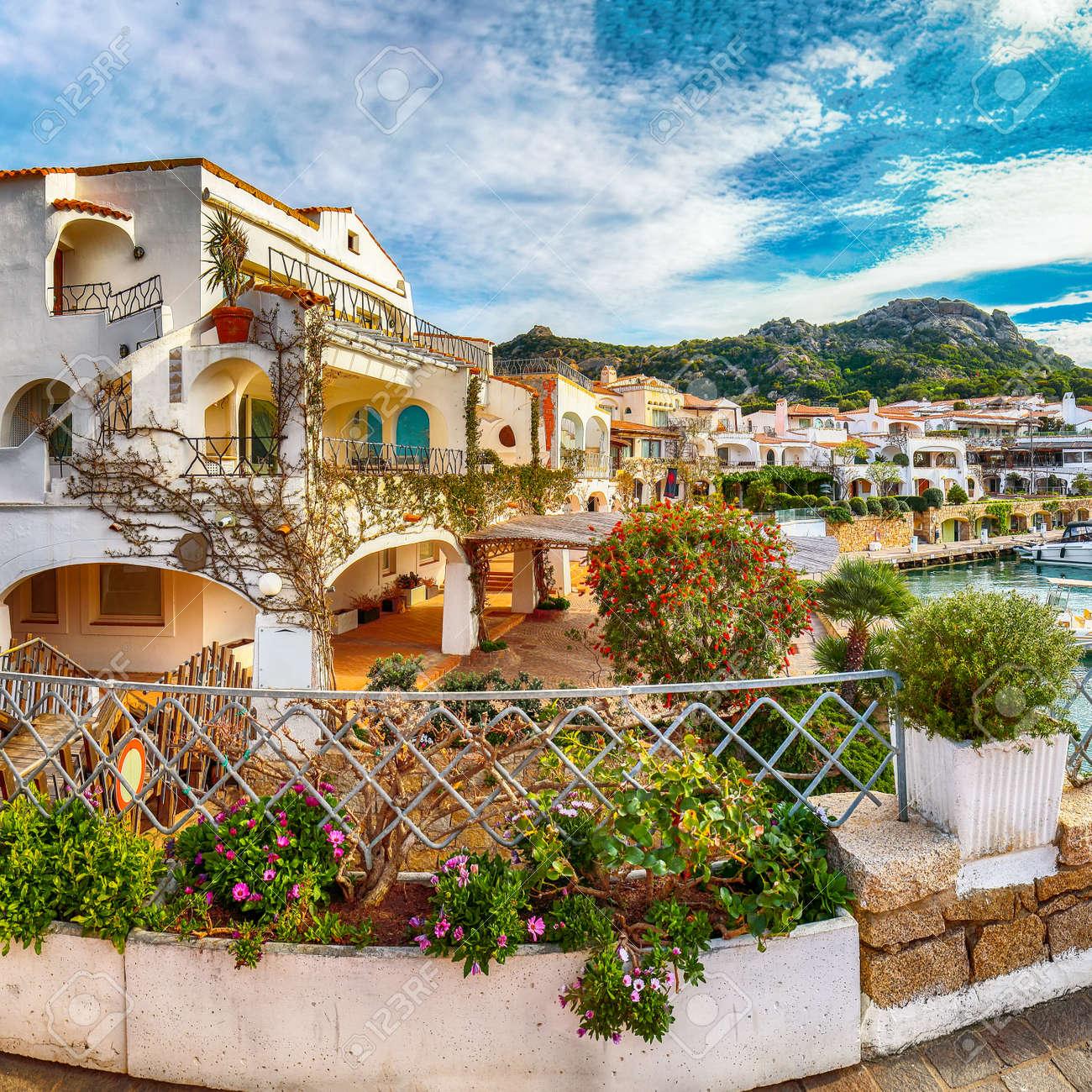 Enchanting view of Poltu Quatu town on Costa Smeralda. Popular travel destination of Mediterranean sea. Location: Poltu Quatu, Province of Sassari, Sardinia, Italy, Europe - 170378851