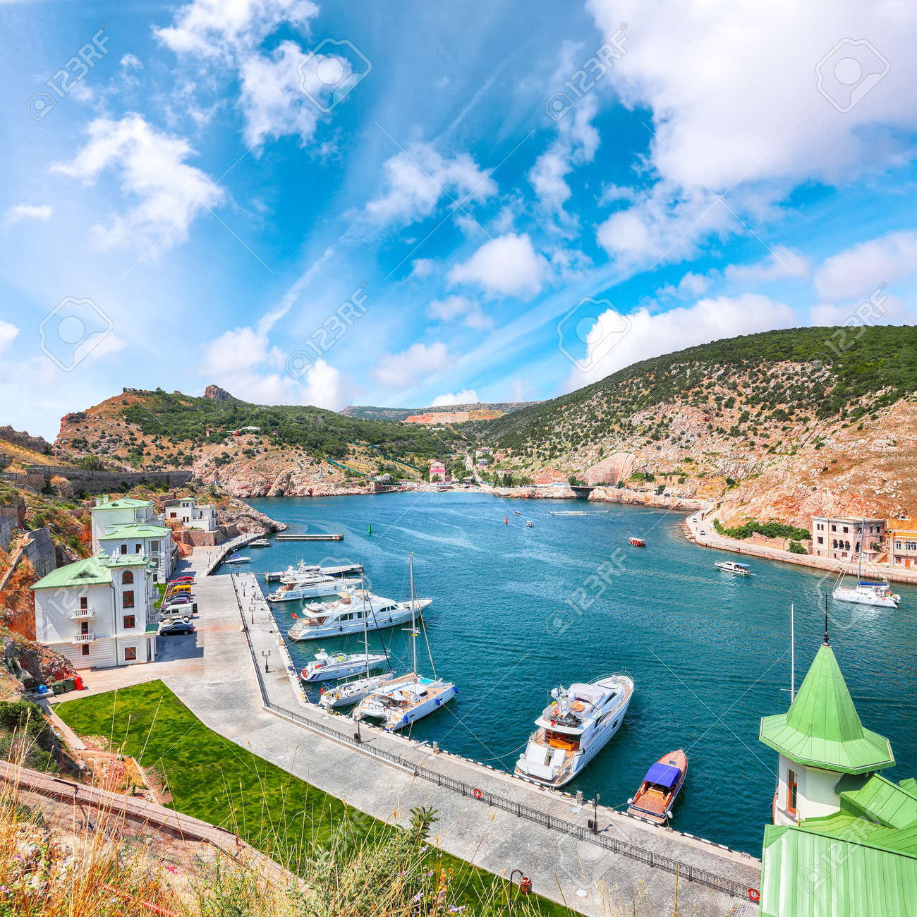 Stunning view of Balaklava bay with yachts from the Genoese fortress Chembalo in Sevastopol city. Crimea - 170378876