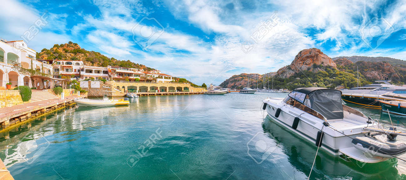 Astonishing view of Poltu Quatu port and bay with yachts and motorboats on Costa Smeralda. Popular travel destination of Mediterranean sea. Location: Poltu Quatu, Province of Sassari, Sardinia, Italy, Europe - 170378776