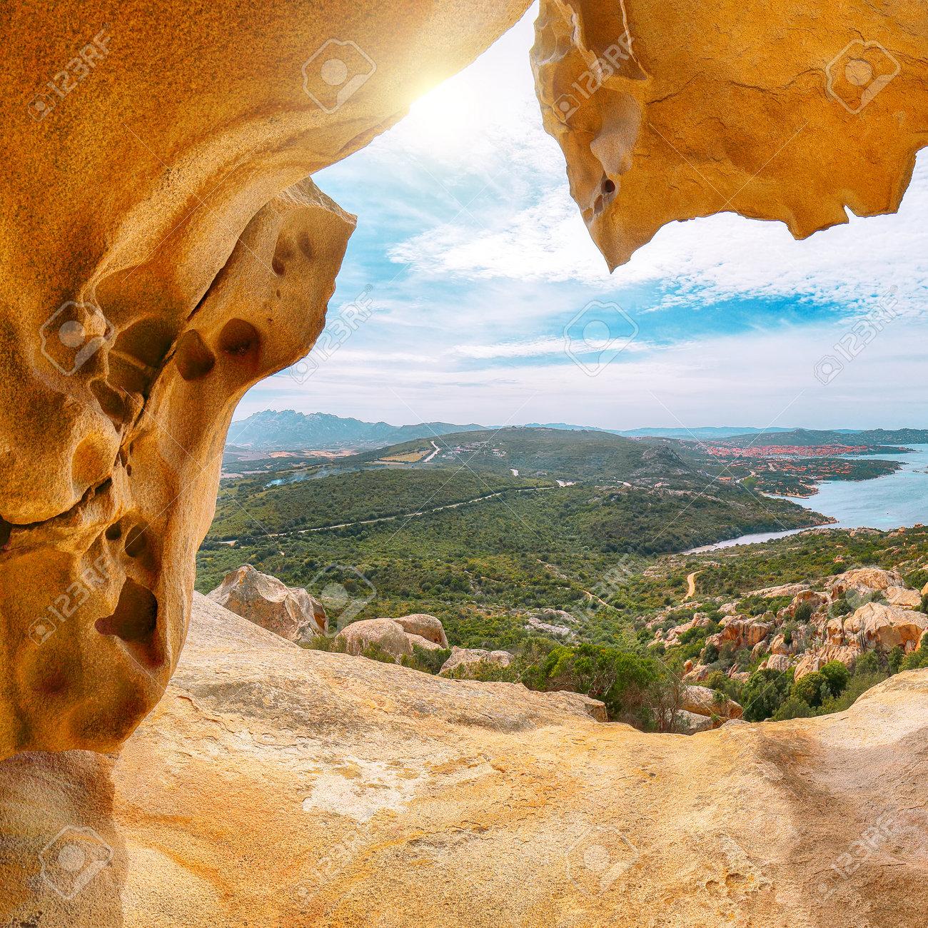 Fabulous view on Palau from popular travel destination Bear Rock (Roccia dell'Orso). Location: Palau, Province of Olbia-Tempio, Sardinia, Italy, Europe - 170378777