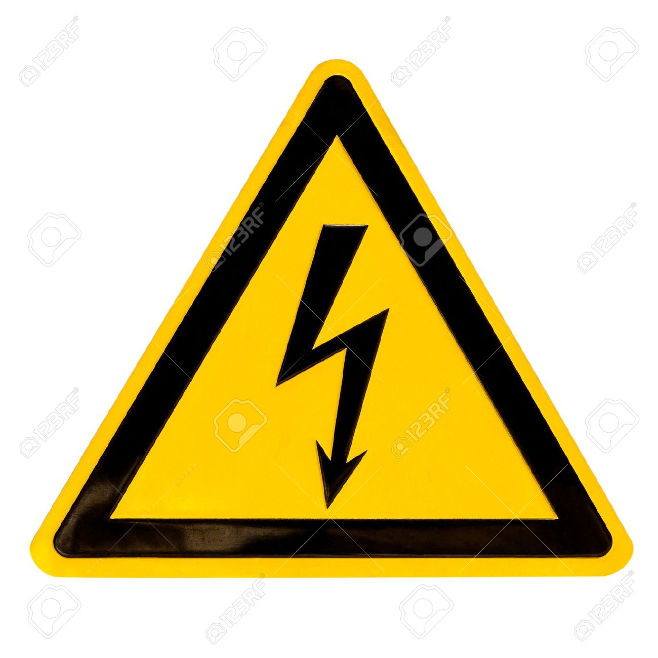 Real metal high voltage danger sign isolated on white Stock Photo - 8931320